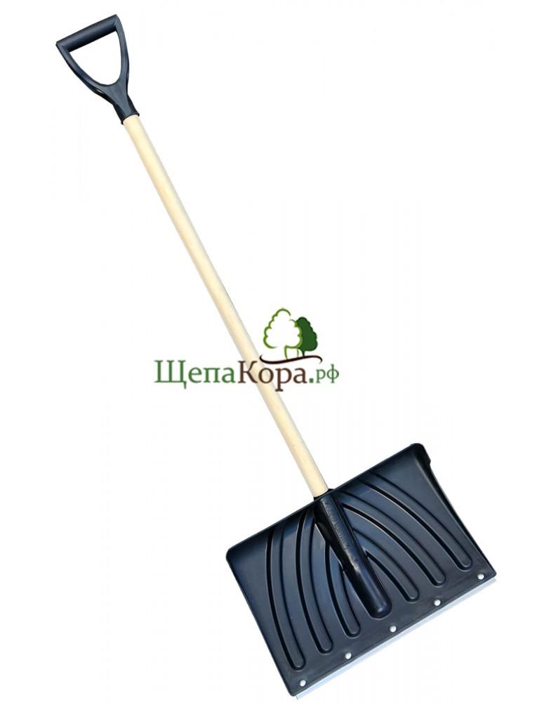 Снегоуборочная лопата Широкая с деревянной ручкой