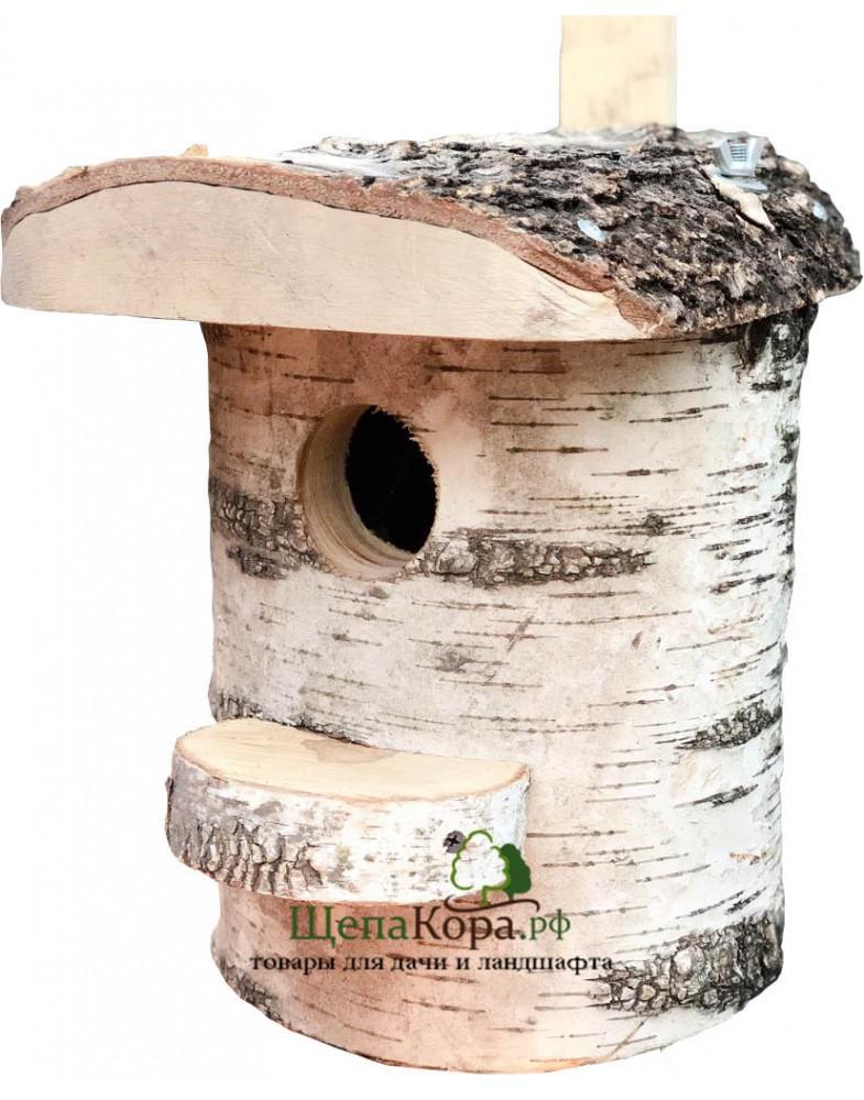 Березовый скворечник для птиц или бельчатник из массива березы для белок