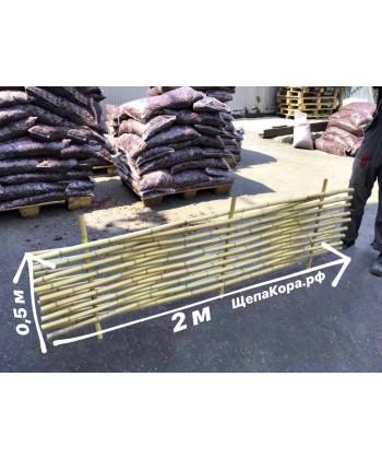 Забор из бамбука с манильским канатом (плетеный), 0,5 х 2 м