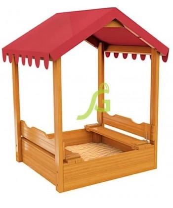 Детская деревянная песочница с тентом, 1.25х1.25 м