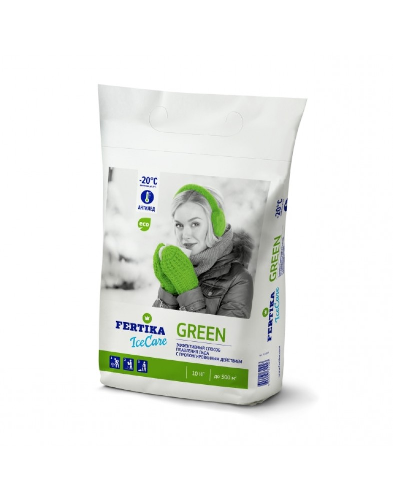 Противогололедный реагент FERTIKA ICECARE GREEN -20°C (10 кг.)