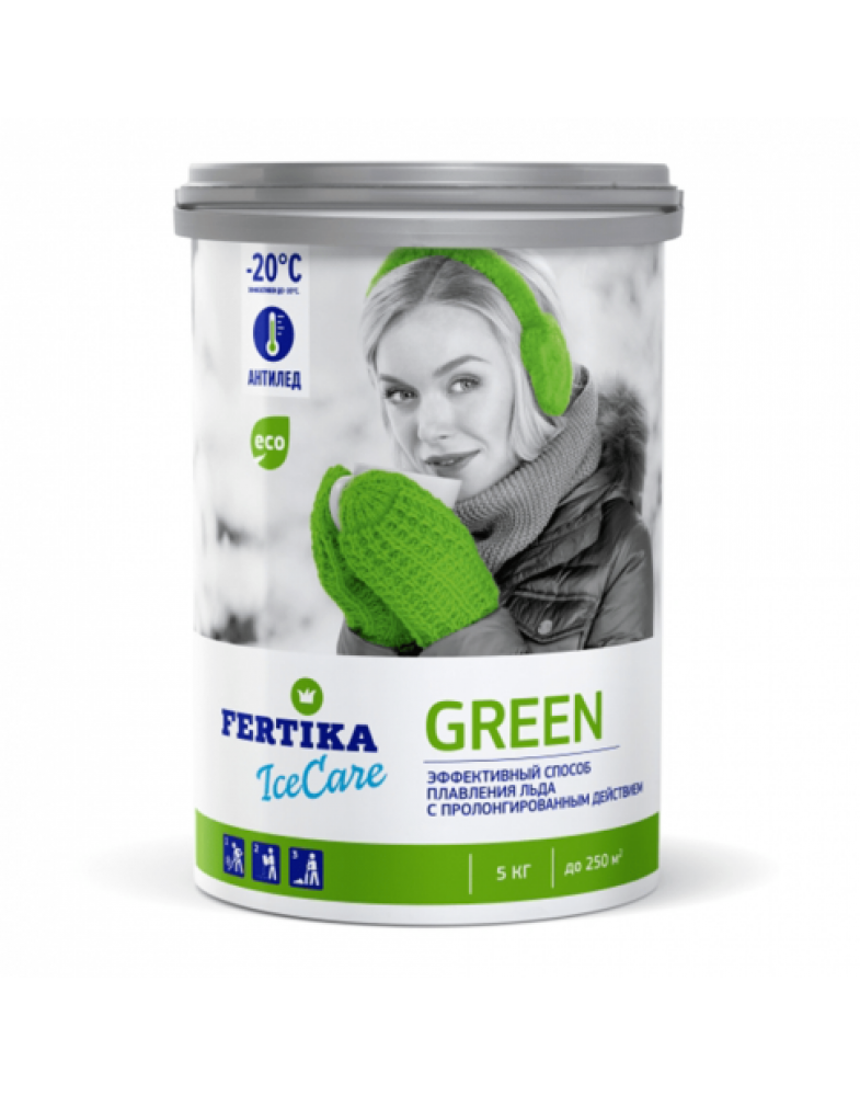 Противогололедный реагент FERTIKA ICECARE GREEN -20°C (5 кг.)