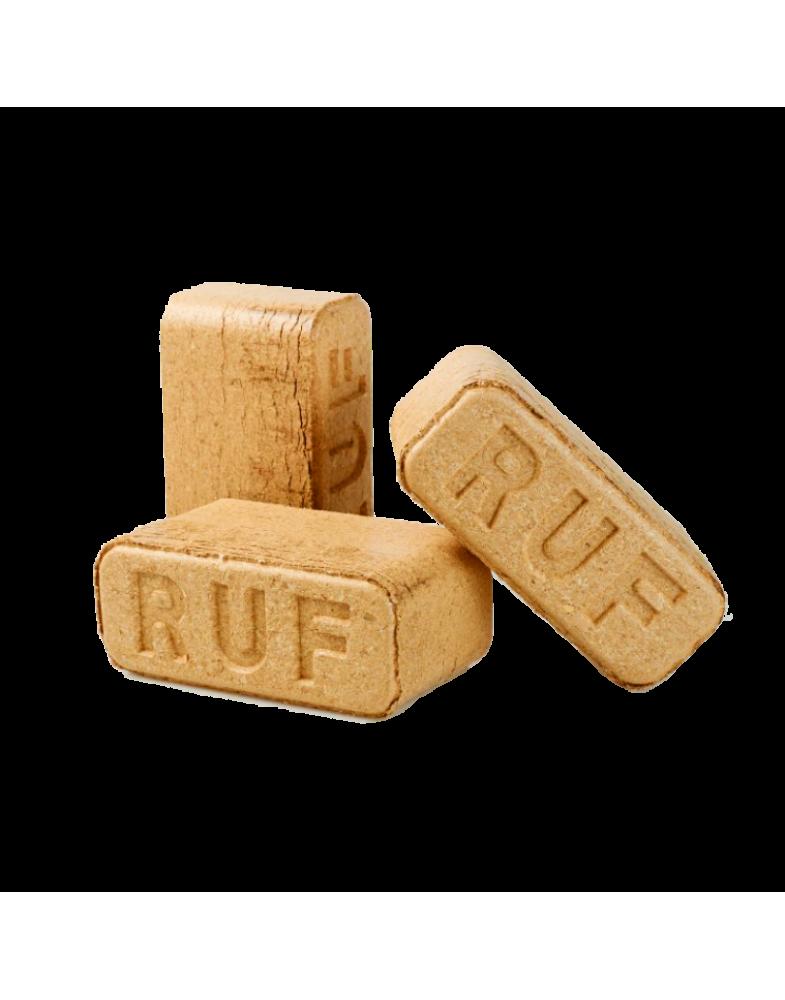 Древесные брикеты RUF из пыли в упаковках по 10 кг