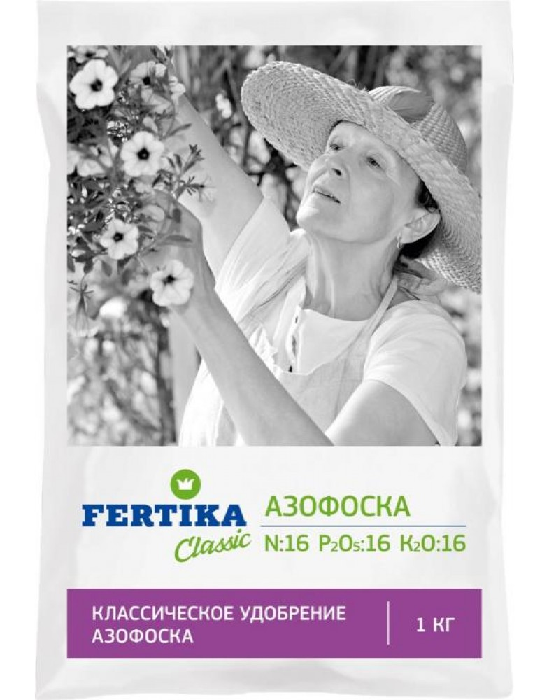 Азофоска (Нитроаммофоска) N-16%, P-16%, K-16% (Fertika), 1кг (Fertika), 1кг
