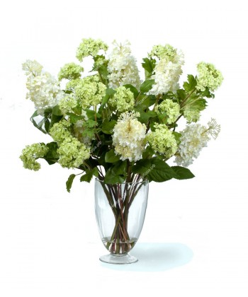 """Композиция """"Beauty of Nature"""" (Гортензия метельчатая белая с нежно-зел.вибурном), 77см"""