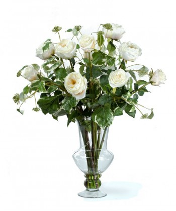 """Композиция """"Nature style"""" (белые розы с бело-зеленым плющом), 85см"""