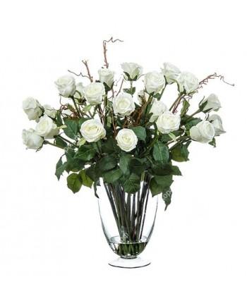 Композиция розы белые в стеклянной вазе с водой, 56 см