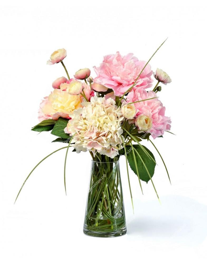 """Композиция """"Summer garden"""" (нежно-розовые Пионы, Гортензия, Ранункулусы) , 45см"""