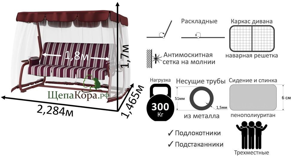 Садовые качели LeSet 901 бордовые премиум инфографика